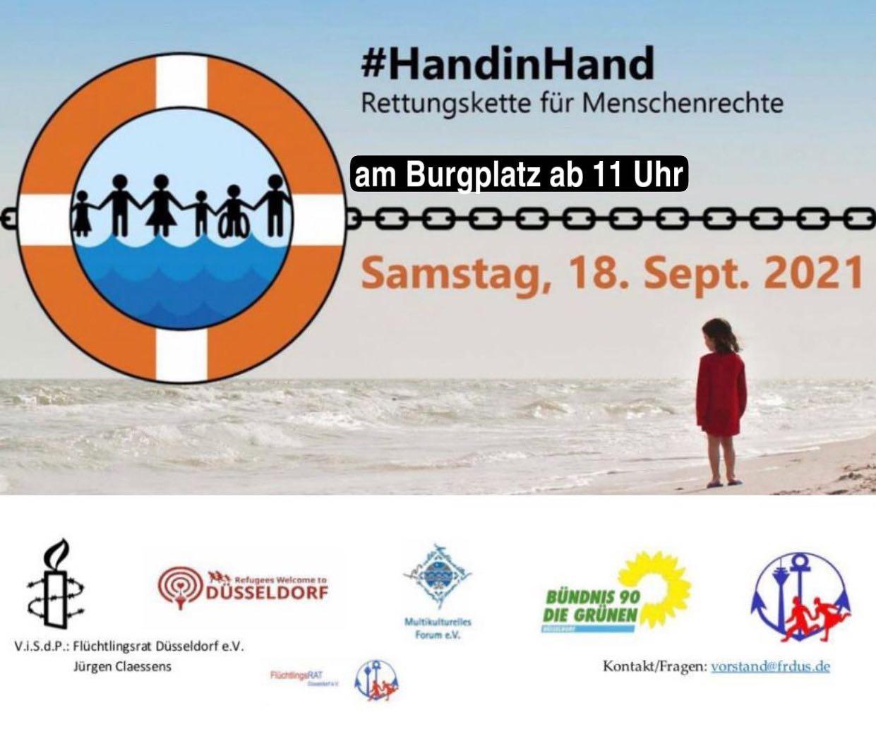 Aufruf Rettungskette für Menschenrechte am 18. September 11 Uhr am Burgplatz Düsseldorf