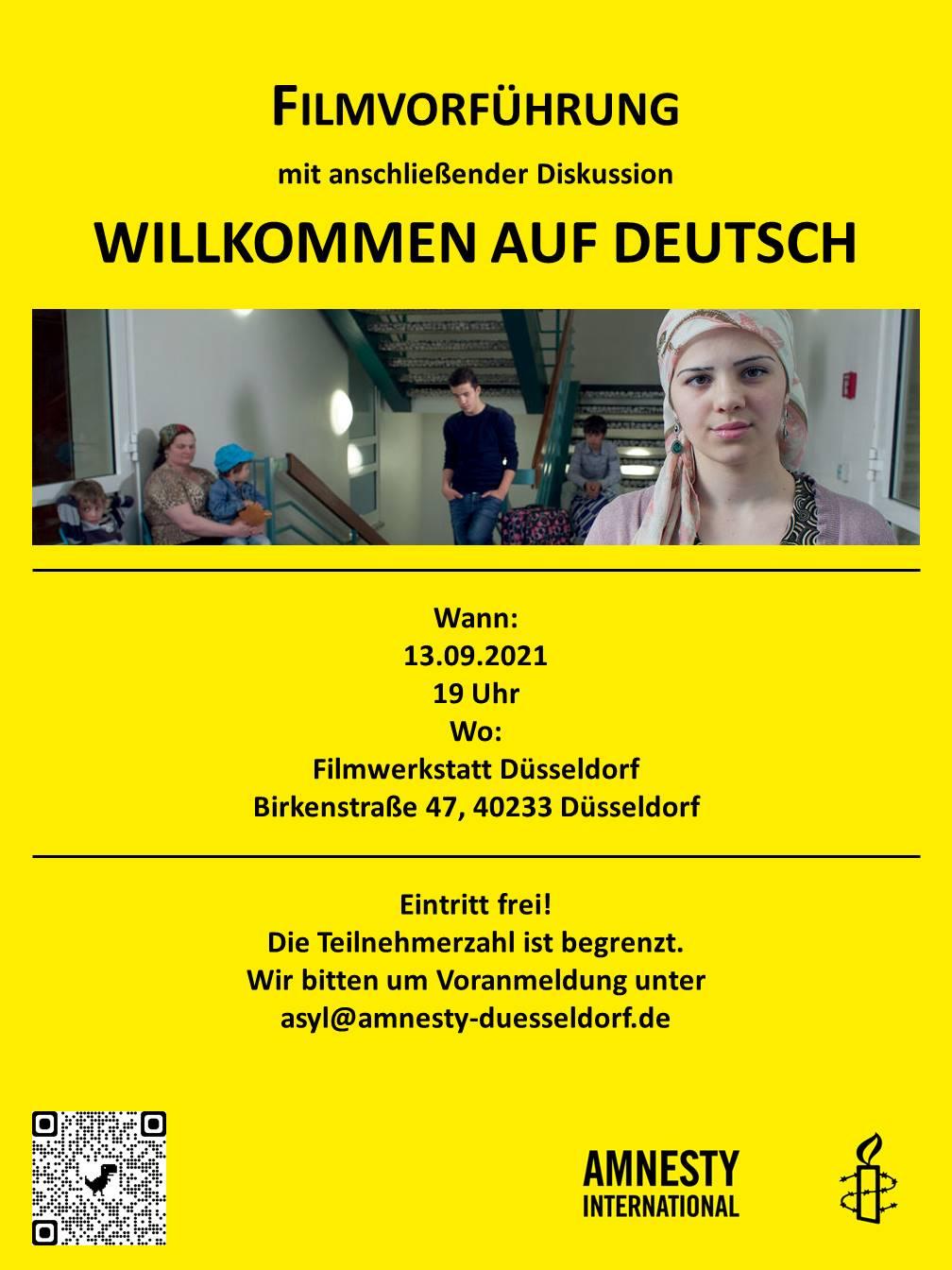 """Plakat zur Filmvorführung und Diskussion """"Willkommen auf Deutsch"""" am 13. September 2021 um 19:00 Uhr in der FIlmwerkstatt Düsseldorf"""